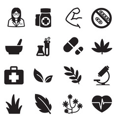 Silhouette herb icons vector