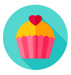 Lovely cupcake circle icon vector