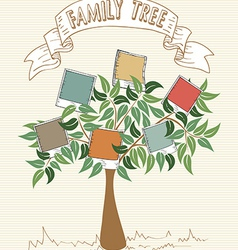 Vintage colors instant photo tree vector