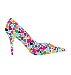 Shoe with hearts vector