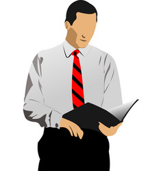 Business man reading documents vector