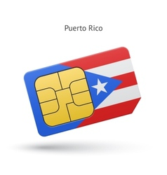 Puerto rico mobile phone sim card with flag vector