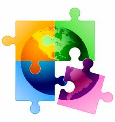 globe puzzle vector image
