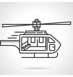 Flat line colored icon for emergency helicopter vector