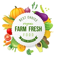 Emblem with fresh vegetables and type design vector