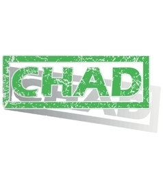 Green outlined chad stamp vector