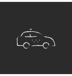 Taxi car icon drawn in chalk vector