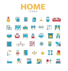 Home icons house related objects icons in vector image