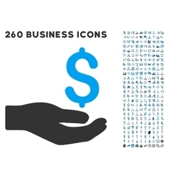 Money donation icon with flat set vector