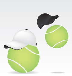 Tennis ball and cap vector