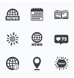 News icons world globe symbols book sign vector