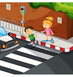 Boy and girl crossing the road vector image