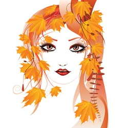 Autumn floral girl3 vector