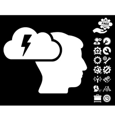 Brainstorming icon with tools bonus vector