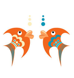 Bright orange tropical fish with blue ornament vector