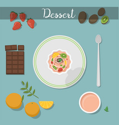 dessert food sweet cake with raspberry sauce vector image