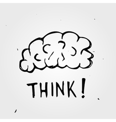 Hand drawn Brain Think vector image