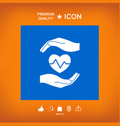 Hands holding heart medical icon vector