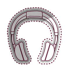 Headphone music device icon vector
