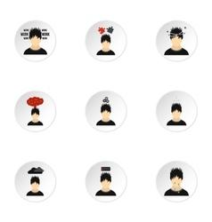 Human feelings icons set flat style vector