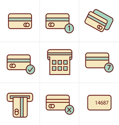 Icons Style black credit cart icons set vector image vector image