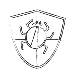 Isolated shield and bug design vector