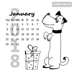 january dog vector image