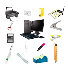 Office tools realistic icon set vector image