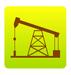 Oil drilling rig sign brown icon at green vector