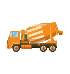 Orange truck concrete mixer icon cartoon style vector