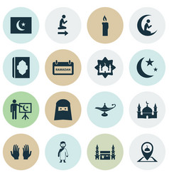 Ramadan icons set collection of islam building vector