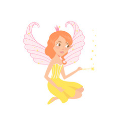 Red-haired fairy sitting and spreading pixie dust vector