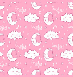 seamless pattern with cartoon sleeping moon cloud vector image vector image