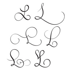 set of art calligraphy letter l with flourish of vector image