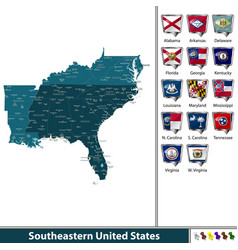 southeastern united states vector image vector image