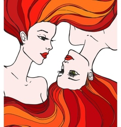 Two beautiful young women vector image