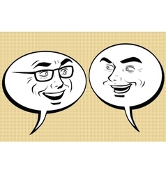 Two happy men talking comic bubble smiley face vector