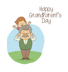 White background with scene grandpa carrying a boy vector