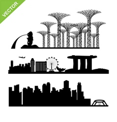 Singapore city landmark silhouettes vector