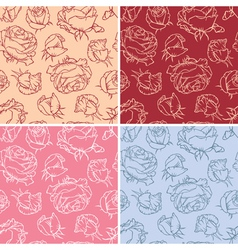 Pattern of flowers roses vector