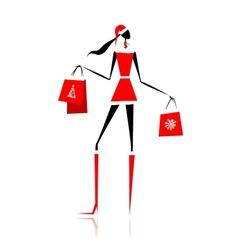 Christmas shopping santa girl with gifts vector
