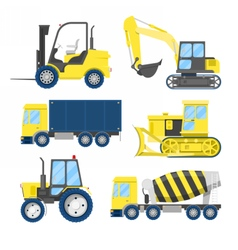 Industrial construction transportation with truck vector
