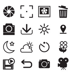 Camera and menu icons with white background vector