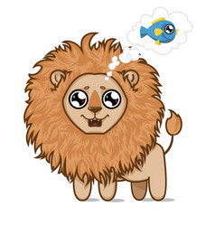 Hungry lionlion cub dreams of delicious fish vector