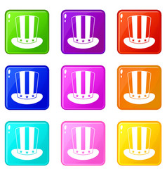 american hat icons 9 set vector image