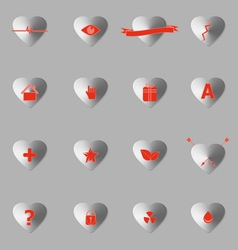 General symbol in heart shape icons with shadow vector