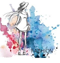 Fashion sketch on a watercolor background vector