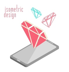 Mobile phone in isometric projection vector