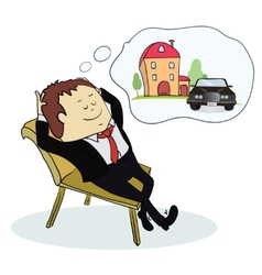 Man dreaming house and car vector