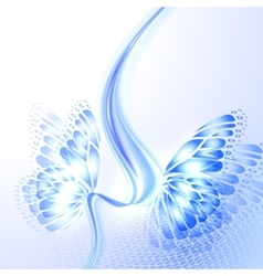 Abstract wave blue background with butterfly vector image